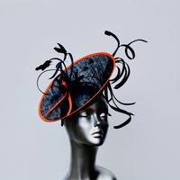 "Navy Blue  and Orange  ""wiggle"" Modern Mother of the Bride Hatinator  16364/SD199"